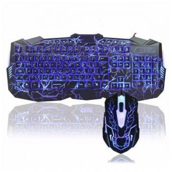 Игровой проводный комплект клавиатура и мышка V-100 геймерский комплект черный c подсветкой
