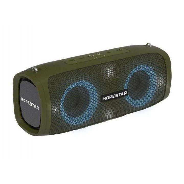 Беспроводная оригинальная портативная bluetooth колонка Hopestar A6 Party акустика с подсветкой зеленая