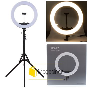 Кольцевая лампа (селфи кольцо) 45 см HQ-18 с штативом 2,1м для блогера / селфи / фотографа / визажиста (1061-tg)