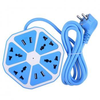 Сетевой фильтр универсальный HEXAGON SOCKET на 4 розетки и 4 USB порта переноска синий