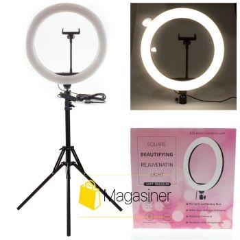 Селфи кольцо (кольцевой свет) 31 см Soft Tricolor с штативом 2м для блогера / селфи / фотографа / визажиста (1106-tg)