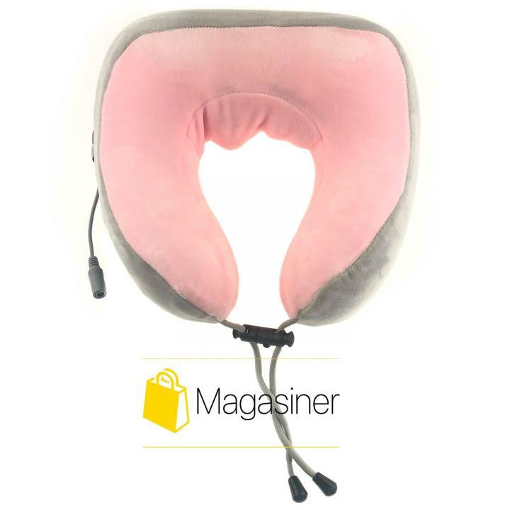 Массажная подушка для спины шеи U Shaped Massage Pillow с подогревом роликами вибрацией роликовый массажер (1121)