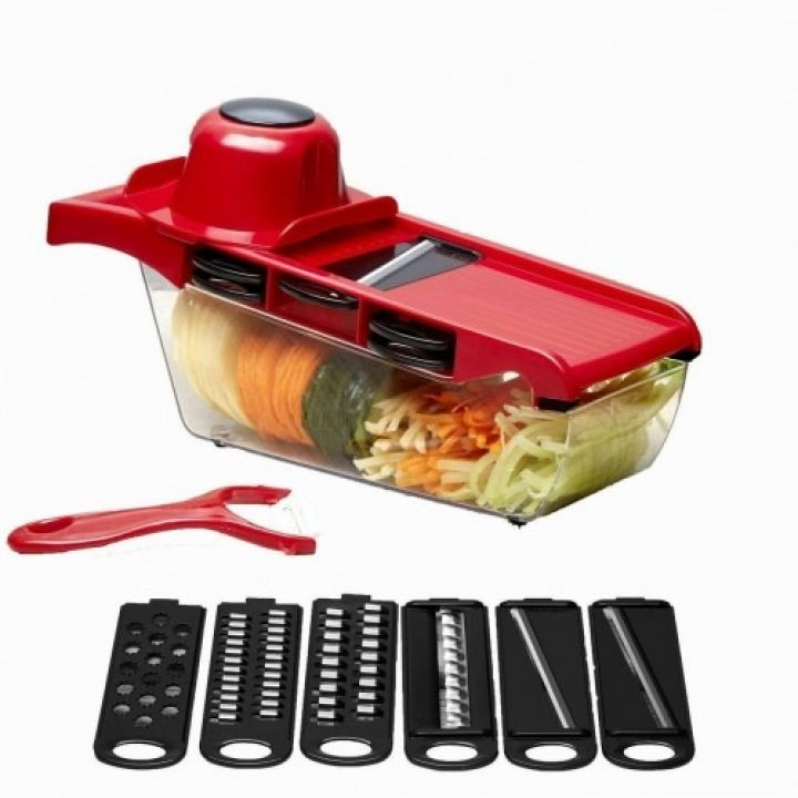 Овощерезка шинковка со сменными насадками Mandoline Slicer терка слайсер 6 в 1 с контейнером красная