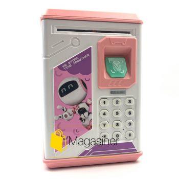 Детская копилка-сейф с ультрафиолетом кодовым замком и отпечатком пальца Robot BODYGUARD розовая (1146)