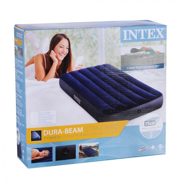 Одноместный велюровый надувной матрас Intex 99х191см для купания пляжа отдыха