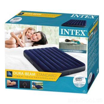 Полуторный велюровый надувной матрас Intex 137х191см для купания пляжа отдыха