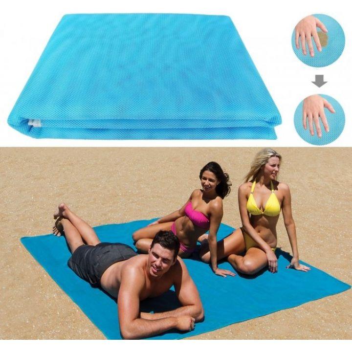 Пляжная подстилка покрывало анти-песок Sand Free Beach Mat для моря и пикника Blue