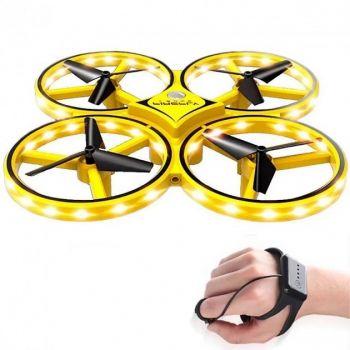 Квадрокоптер с сенсорным управлением от руки Tracker Drone компактный дрон желтый