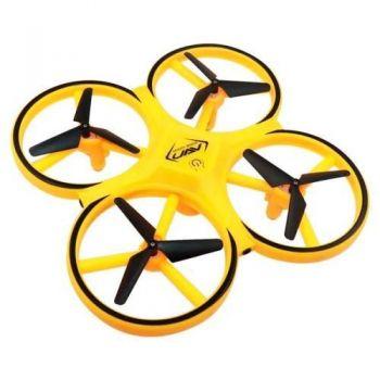 Квадрокоптер с сенсорным управлением от руки UAV компактный дрон желтый
