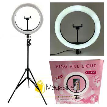 Набор блогера 2 в 1 Кольцевая LED лампа 33 см с держателем для телефона Селфи кольцо. Кольцевой свет LC-330 +Подарок Штатив 2,1 м + bluetooth пульт (1253)