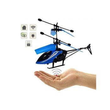 Летающий вертолет Induction aircraft с сенсорным управлением 8088 управляемый от руки синий