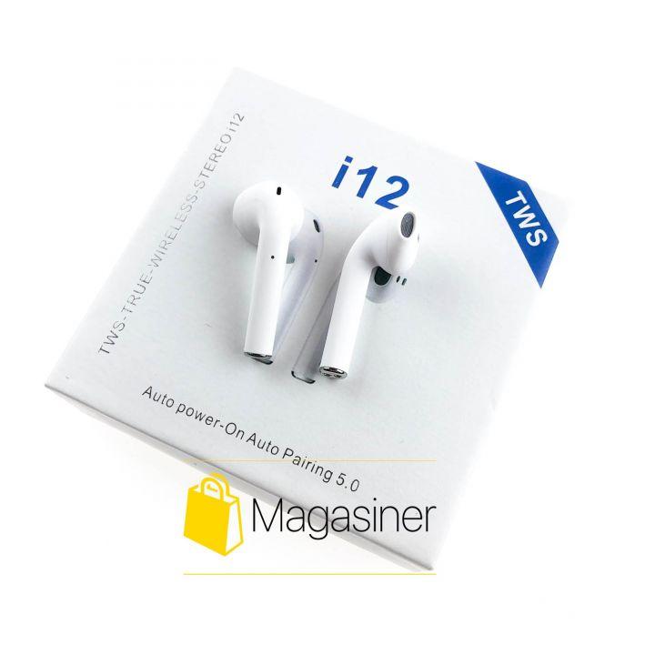 Беспроводные bluetooth наушники i12 TWS 5.0 с микрофоном белые (1263)