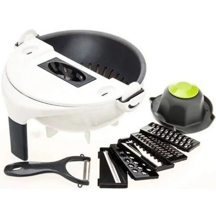 Терка овощерезка слайсер многофункциональная Basket Vegetable Cutter с контейнером с насадками и овощечисткой Белая