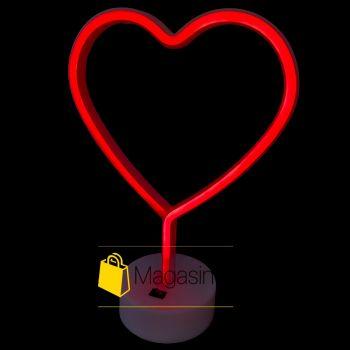 Светодиодный неоновый светильник Сердце настольный детский ночник беспроводной лед led красный свет (996)