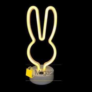 Светодиодный неоновый светильник Кролик настольный детский ночник беспроводной лед led желтый свет (1275)