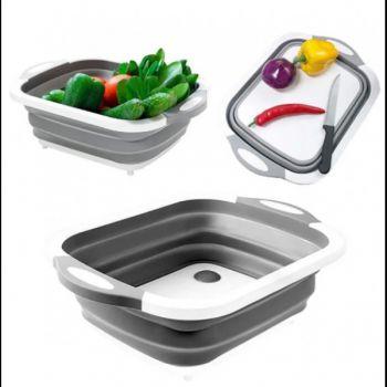 Доска разделочная складная 2 в 1 KC Cutting Board Pro доска-миска трансформер для нарезки мытья сушки овощей