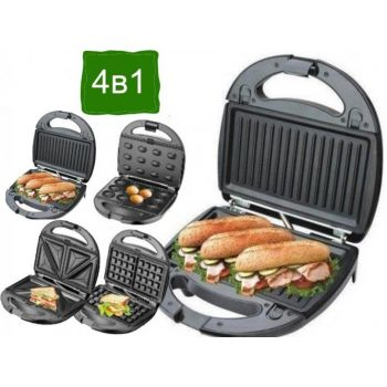 Мультимейкер со съемными формами Grandhoff 4 в 1 вафельница, орешница, сендвичница, гриль 1200Вт GT-780 Black