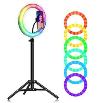 Кольцевая лампа RGB LED 26 см со штативом 2 метра и с держателем для телефона для селфи и юных блоггеров (1300-01)