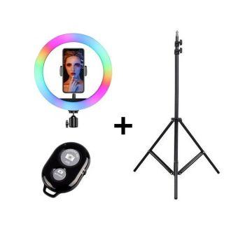 Кольцевая LED лампа RGB 33 см 15 цветовых схем SOFT RING LIGHT + Подарок Штатив 210 см + bluetooth пульт Набор для блогера