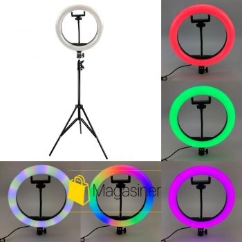 Кольцевая лампа RGB LED 26 см со штативом 2 метра и с держателем для телефона для селфи и юных блоггеров
