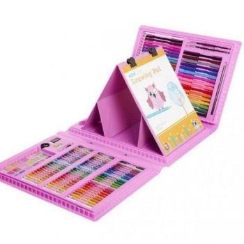 Набор для рисования с мольбертом детский Чемодан творчества 208 предметов Розовый