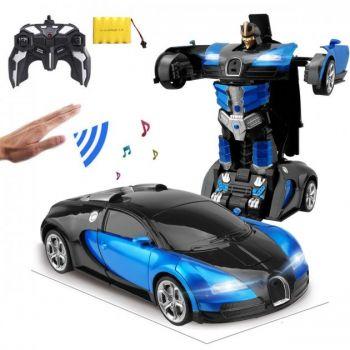 Аккумуляторная машина робот-трансформер на радиоуправлении Bugatti Veyron 1:14 синяя