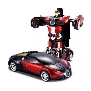 Аккумуляторная машина робот-трансформер на радиоуправлении Bugatti Veyron 1:14 красная