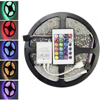 Комплект светодиодная лента влагозащищенная LED 5050 SMD RGB 12v с контроллером+Пульт + блок питания 5м
