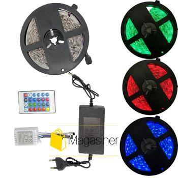 Светодиодная лента 5050 300 LED RGB 5м с пультом и блоком питания Маленькая