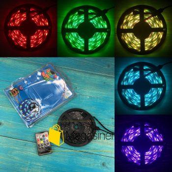 Комплект светодиодная лента влагозащищенная LED 5050 SMD RGB 12v с контроллером+ Пульт + блок питания 5м (1349)