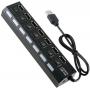 Разветвитель на 7 портов USB 2.0 хаб с переключателями Memos HB27-203PBK Черный (1404)