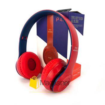 Беспроводные Bluetooth наушники UKC P47 красные с синим (1463)