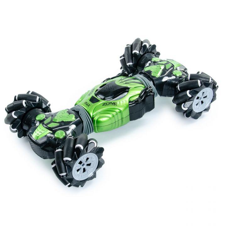 Машинка трансформер - перевёртыш на управлении жестами и пульте 40 см Champions Stunt Car Трюковая машина - вездеход на радиоуправлении c аккумулятором зеленая