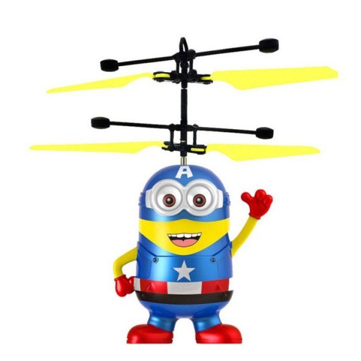 Детская летающая игрушка вертолет Летающий Миньон Капитан Америка BauTech инфракрасная индукционная