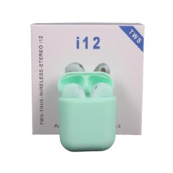 Беспроводные сенсорные наушники вкладыши i12 tws Buetooth-гарнитура с боксом для зарядки бирюза