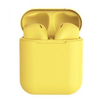 Беспроводные сенсорные наушники вкладыши i12 tws Buetooth-гарнитура с боксом для зарядки желтые
