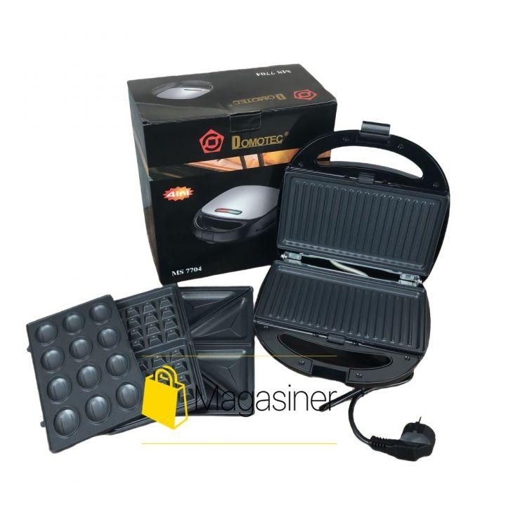 Вафельница бутербродница Domotec MS7704 мультимейкер сэндвичница гриль 4в1 мультигриль со сменными панелями (1601)