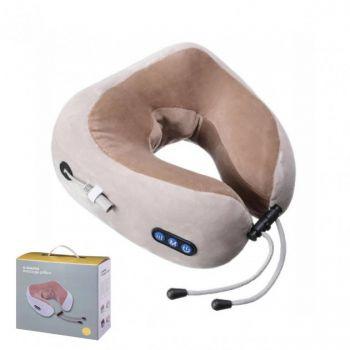 Массажная подушка U-shaped Massage pillow для шеи и спины инфракрасный роликовый массажер многофункциональный