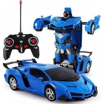 Аккумуляторная машина робот-трансформер на радиоуправлении Lamborghini 1:18 синяя