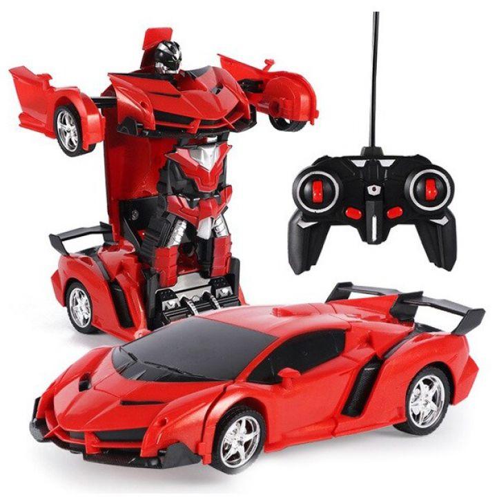Аккумуляторная машина робот-трансформер на радиоуправлении Lamborghini 1:18 красная