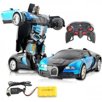 Машинка трансформер на радиоуправлении Bugatti Veyron Robot Car RC 1:18 радиоуправляемая машина на аккумуляторе синяя