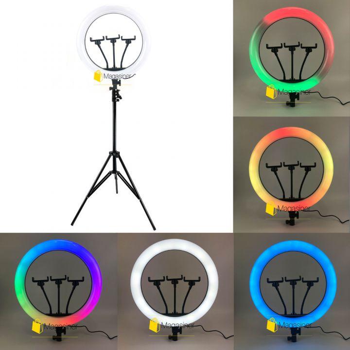 Кольцевая RGB LED лампа 36 см со штативом 2 метра  (кольцевой свет)  для селфи / фото / видео / инстаграма / тик тока / визажиста (1678)