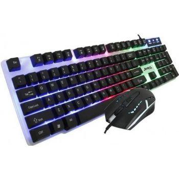 Игровой проводный комплект клавиатура и мышка Jedel GK100 геймерский комплект черный c RGB подсветкой