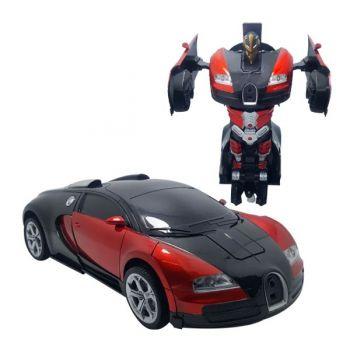 Машинка трансформер на радиоуправлении Bugatti Veyron Robot Car RC 1:18 радиоуправляемая машина на аккумуляторе красная