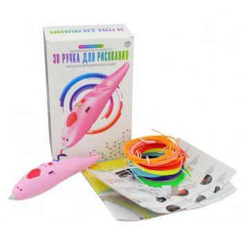 Детская низкотемпературная беспроводная ручка для рисования 3D Pen WM-9902 с трафаретами и набором пластика Розовая