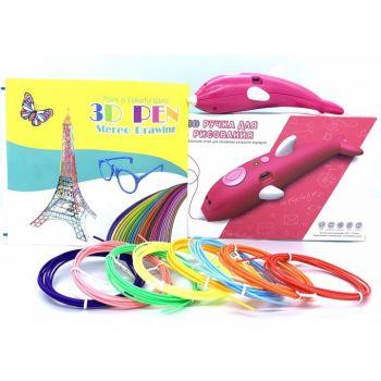 Детская безопасная беспроводная ручка для рисования 3D Pen WM-9903 с трафаретами и набором пластика Розовая