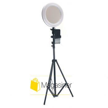 Кольцевая лампа (селфи кольцо) 26 см с зеркалом для блогера с штативом 2 метра / селфи / фотографа / визажиста - Черное(1726)
