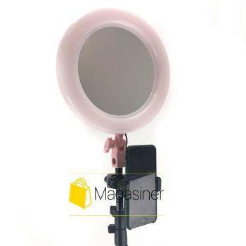 Кольцевая лампа (селфи кольцо) 26 см с зеркалом для блогера / селфи / фотографа / визажиста - Розовое (1727)