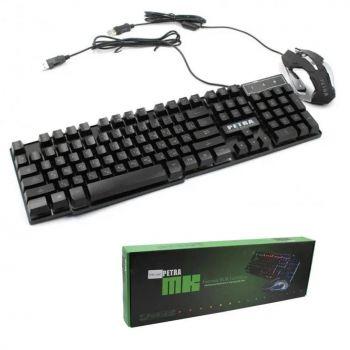 Игровой проводный комплект клавиатура и мышка PETRA MK геймерский комплект черный c RGB подсветкой