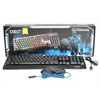 Игровой проводный комплект клавиатура и мышка UKC 4958 геймерский комплект черный c RGB подсветкой